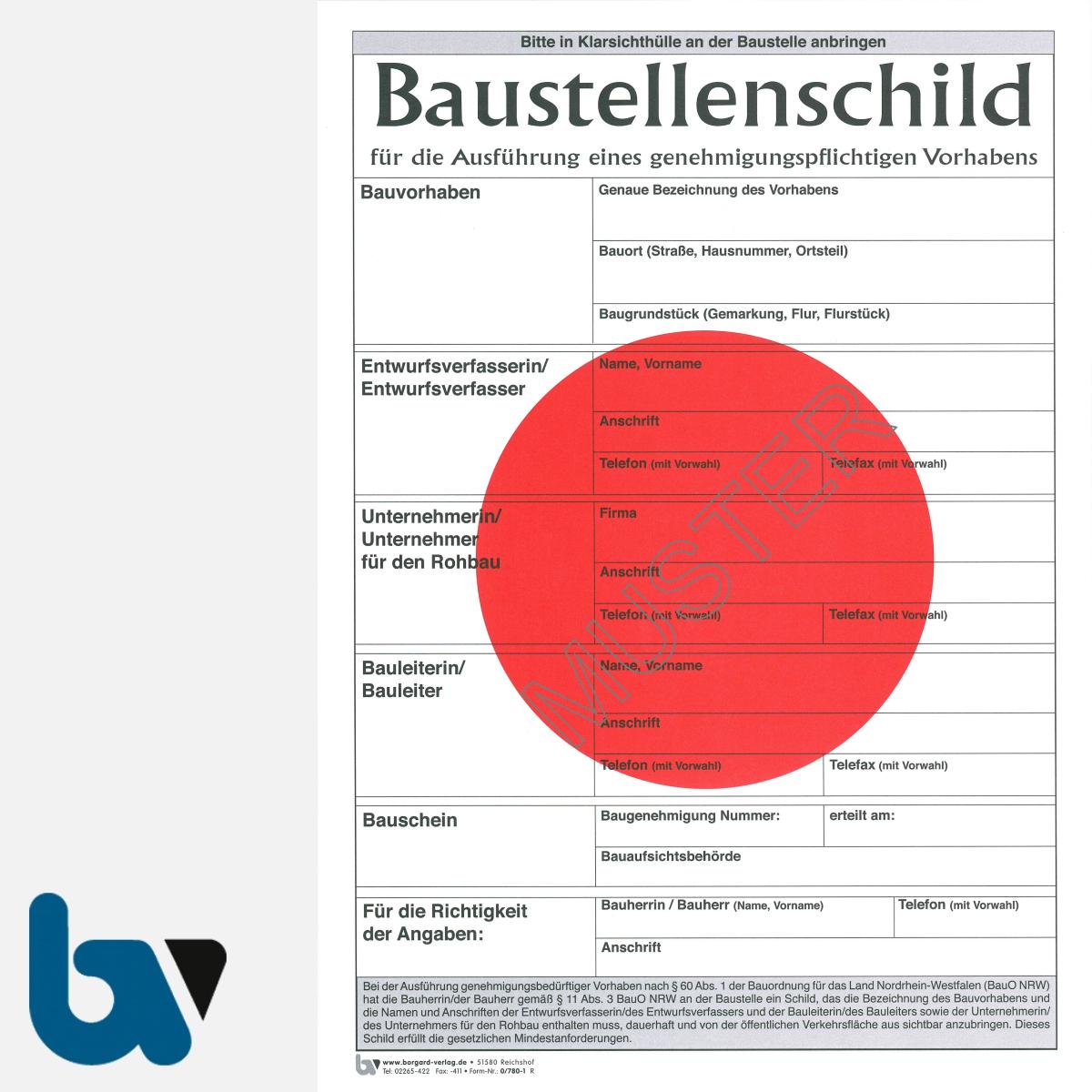 0/780-1 Baustellenschild roter Punkt NRW Bauordnung genehmigungspflichtig Vorhaben Karton DIN A4 Vorderseite | Borgard Verlag GmbH