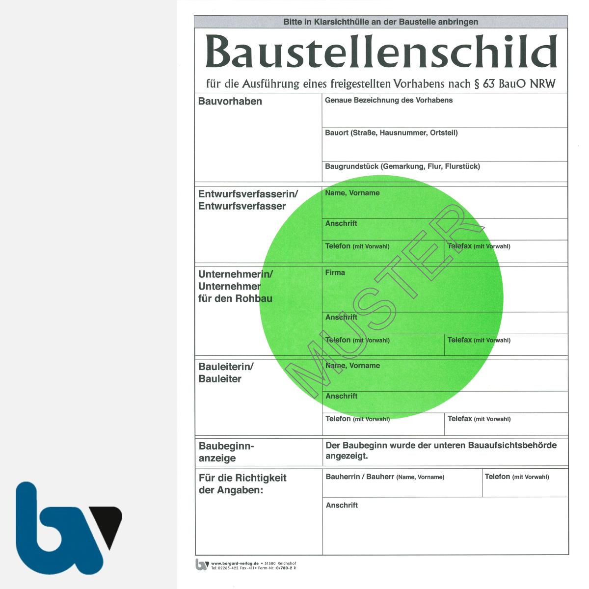 0/780-2 Baustellenschild grüner Punkt NRW Bauordnung freigestellt Vorhaben Karton DIN A4 Vorderseite | Borgard Verlag GmbH