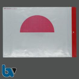 0/780-3.1 Schutzhülle Baustellenschild halber roter Punkt aufgedruckt Bauordnung Kunststoff wetterfest Loch Befestigung DIN A4 Vorderseite | Borgard Verlag GmbH