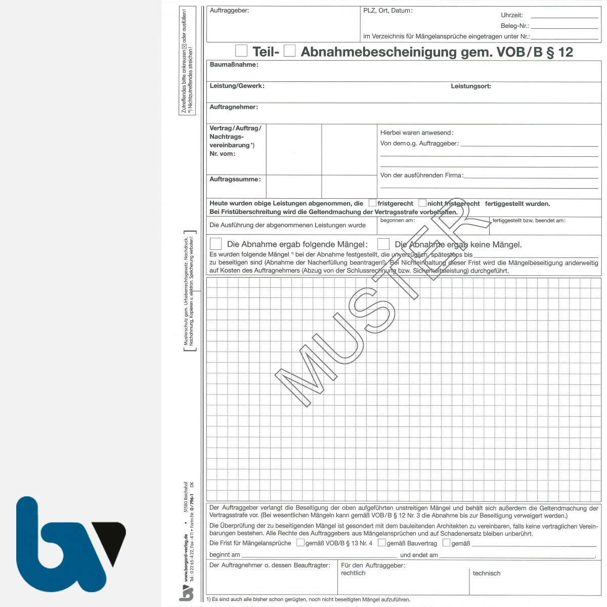 0/796-1 Abnahmebescheinigung VOB Vergabe Vertragsordnung Bauleistung selbstdurchschreibend Einschlagdeckel Durchschreibeschutz Durchschreibeverfahren DIN A4 Seite 1 | Borgard Verlag GmbH