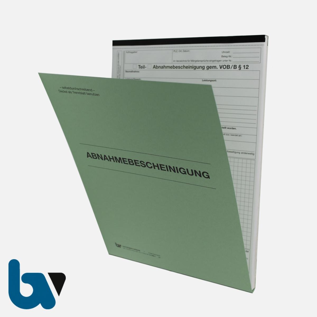 0/796-1 Abnahmebescheinigung VOB Vergabe Vertragsordnung Bauleistung selbstdurchschreibend Einschlagdeckel Durchschreibeschutz Durchschreibeverfahren DIN A4 Vorderseite   Borgard Verlag GmbH