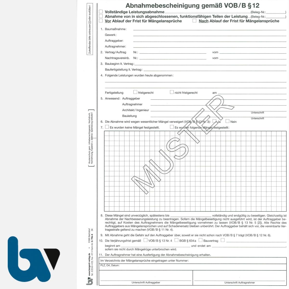 0/796-8 Abnahmebescheinigung VOB Vergabe Vertragsordnung Bauleistung selbstdurchschreibend Einschlagdeckel Durchschreibeschutz Durchschreibeverfahren DIN A4 Seite 1 | Borgard Verlag GmbH
