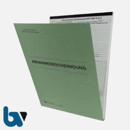 0/796-8 Abnahmebescheinigung VOB Vergabe Vertragsordnung Bauleistung selbstdurchschreibend Einschlagdeckel Durchschreibeschutz Durchschreibeverfahren DIN A4 Vorderseite | Borgard Verlag GmbH