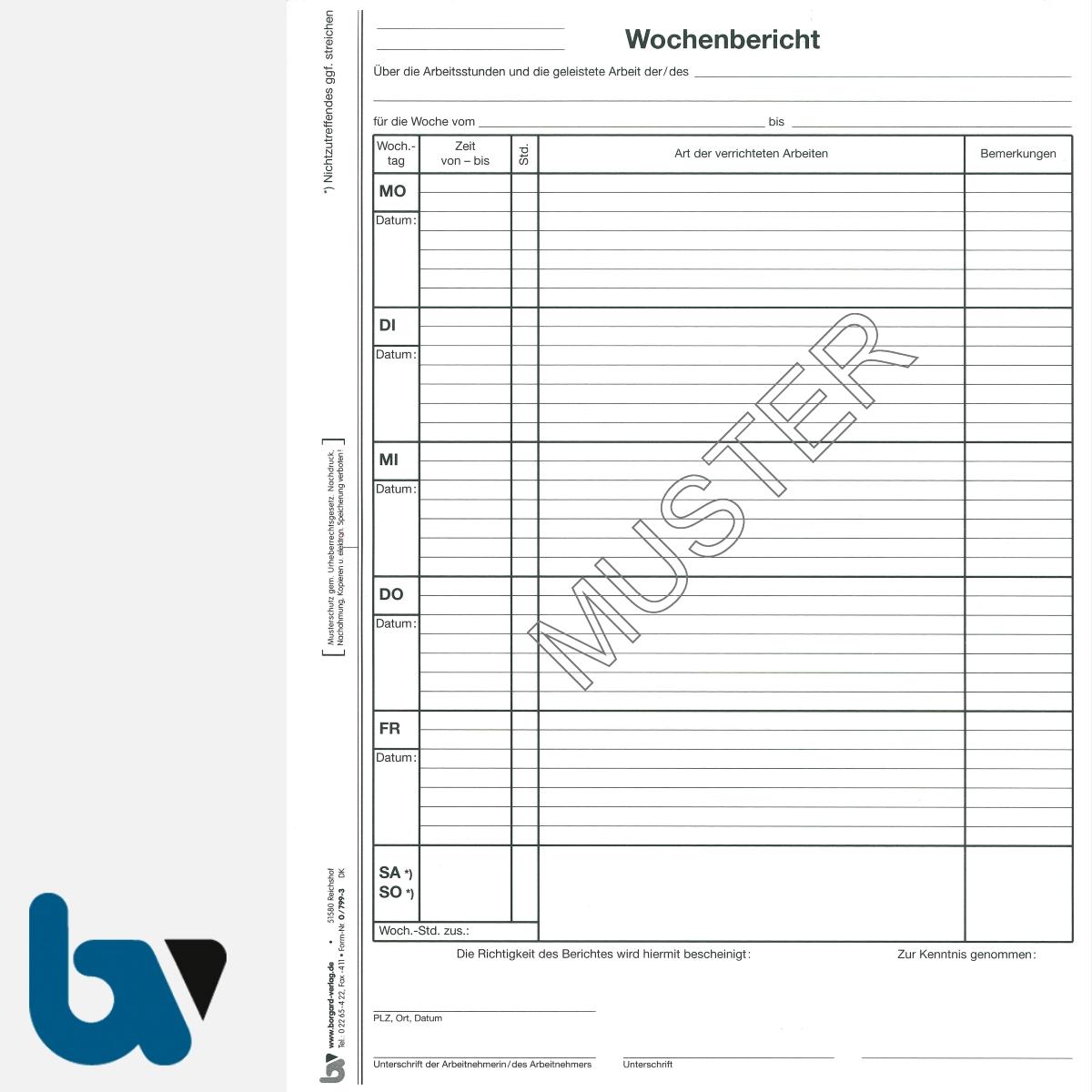 0/799-3 Wochenbericht Baustelle Arbeit selbstdurchschreibend Einschlagdeckel Durchschreibeschutz Schreibschutzdeckel perforiert DIN A4 Seite 1 | Borgard Verlag GmbH