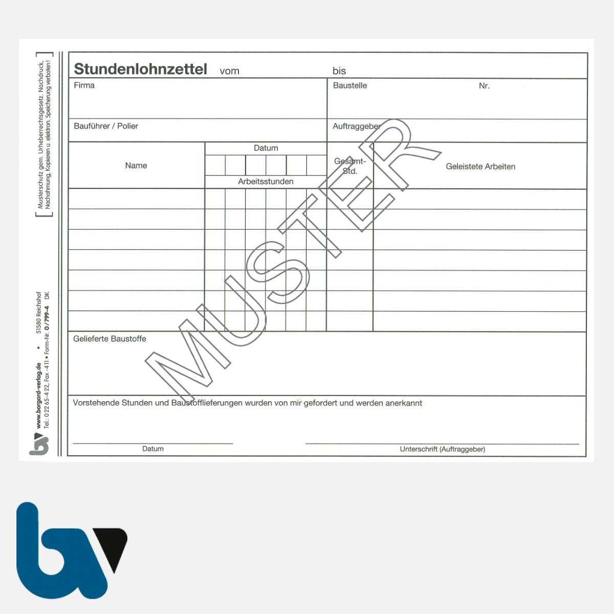 0/799-4 Stundenlohnzettel Baustelle Arbeit Baustoffe selbstdurchschreibend Einschlagdeckel Durchschreibeschutz Schreibschutzdeckel perforiert DIN A5 Seite 1 | Borgard Verlag GmbH