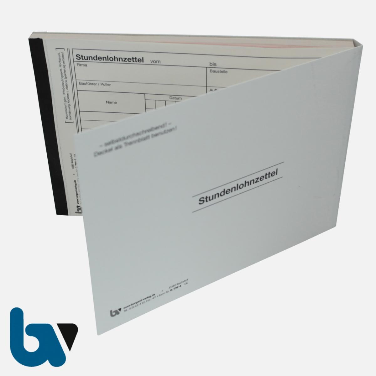 0/799-4 Stundenlohnzettel Baustelle Arbeit Baustoffe selbstdurchschreibend Einschlagdeckel Durchschreibeschutz Schreibschutzdeckel perforiert DIN A5 Vorderseite | Borgard Verlag GmbH