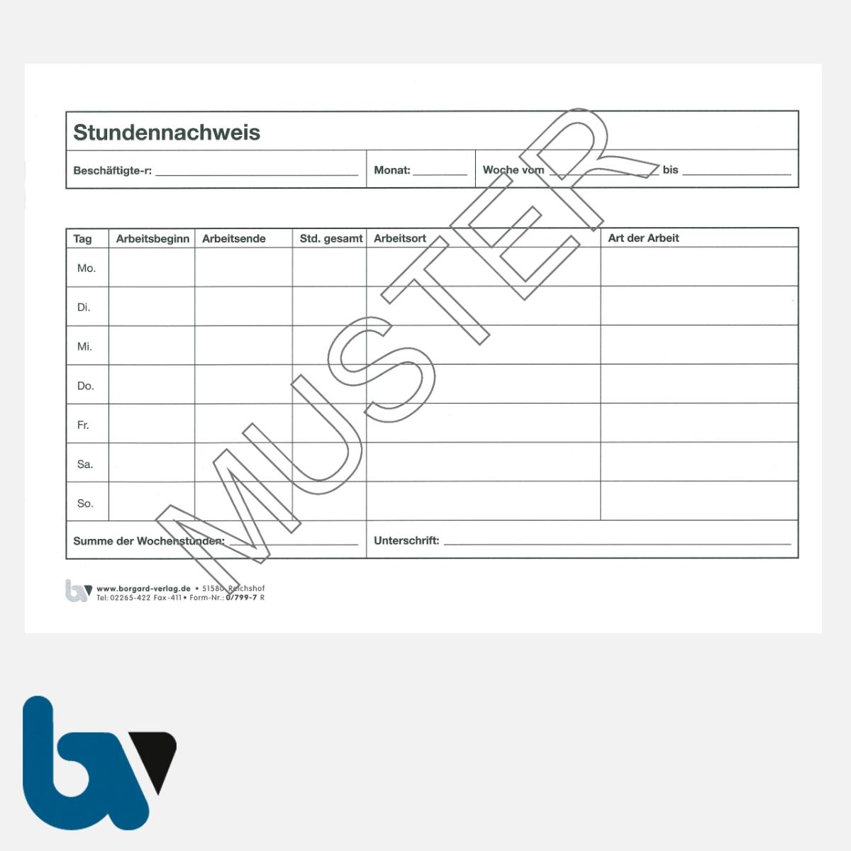 0/799-7 Stundennachweis Arbeit Wochenstunden Heft DIN A5 Seite 1 | Borgard Verlag GmbH