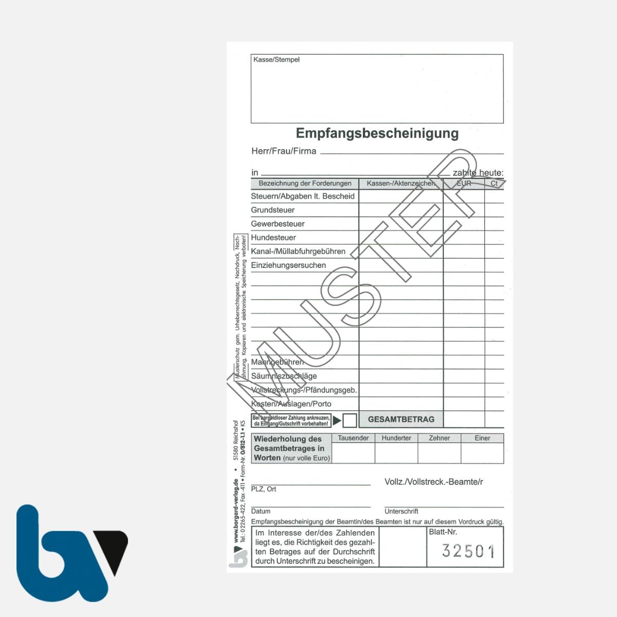0/812-1.1 Quittung Empfangsbescheinigung Vollstreckung Vollziehung Beamte Forderung selbstdurchschreibend 2-fach Schreibschutzdeckel Nummerierung fortlaufend DIN lang S 1 | Borgard Verlag GmbH