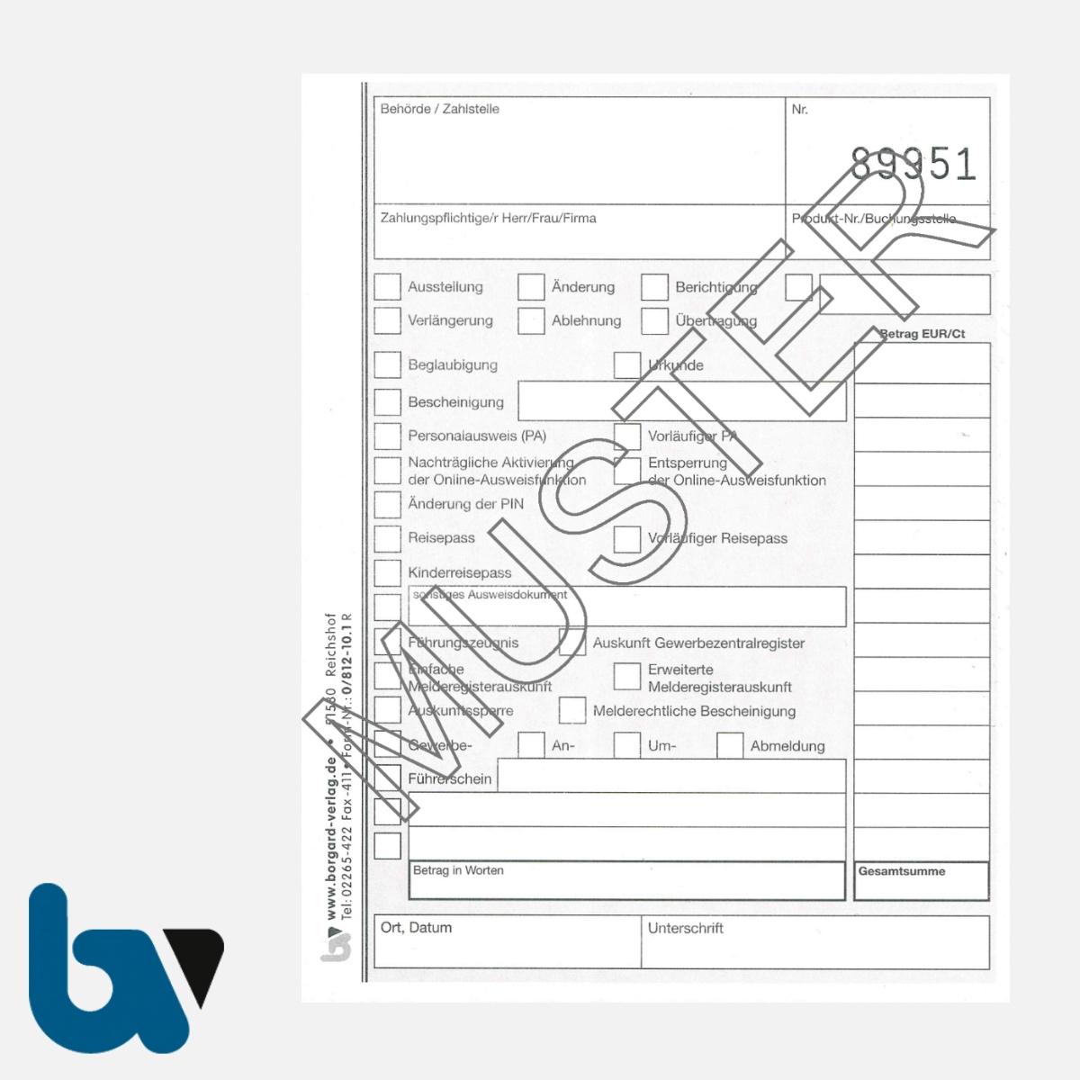 0/812-10.1 Quittung Empfangsbescheinigung Kasse Melde Bürgeramt Ausweis Pass Gewerbe Bar selbstdurchschreibend 3fach Schreibschutzdeckel Nummerierung fortlaufend DIN A6 S 1 | Borgard Verlag GmbH