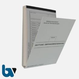 0/812-10.1 Quittung Empfangsbescheinigung Kasse Melde Bürgeramt Ausweis Pass Gewerbe Bar Selbstdurchschreibend 3-fach Schreibschutzdeckel Nummerierung fortlaufend DIN A6 Vorderseite | Borgard Verlag GmbH