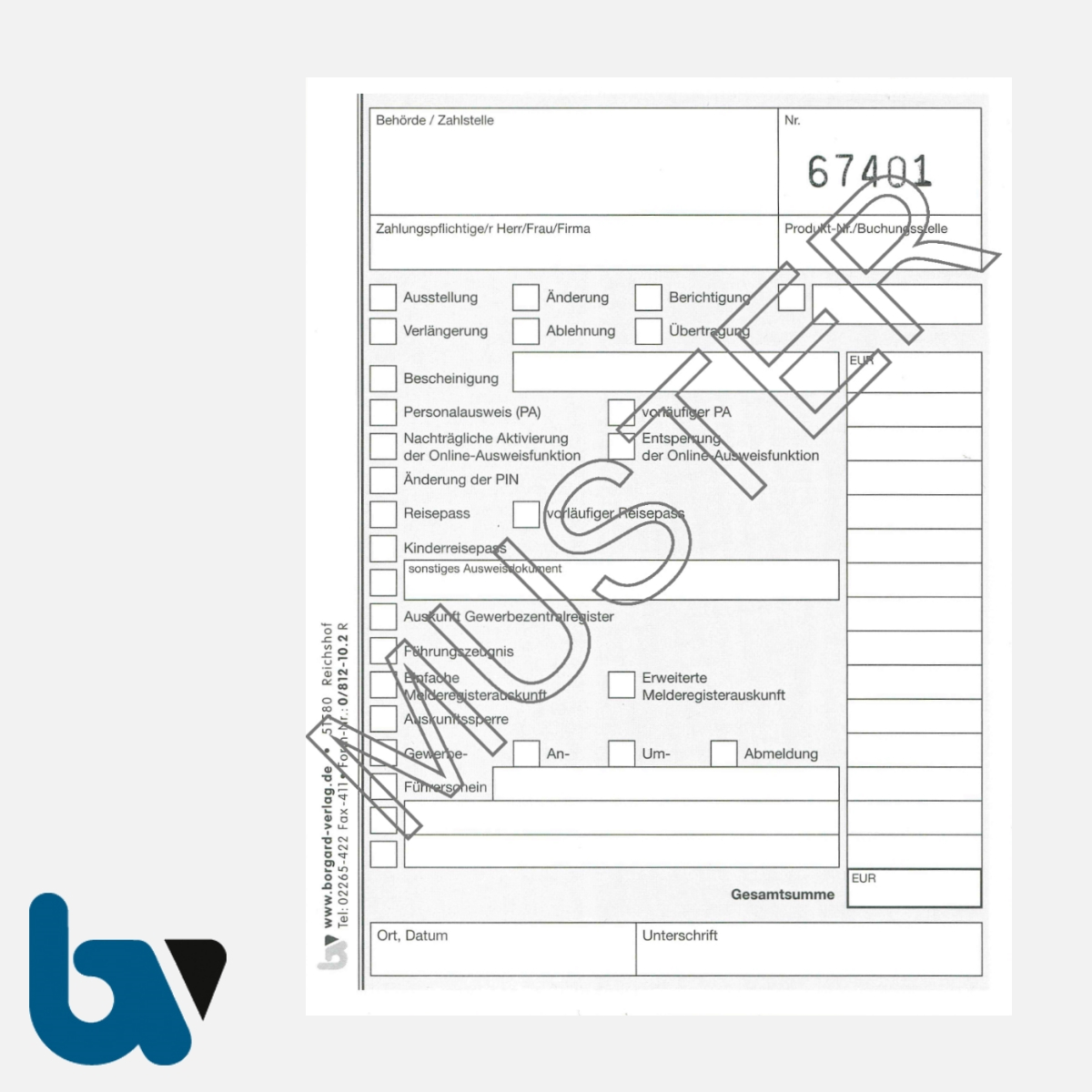 0/812-10.2 Quittung Empfangsbescheinigung Kasse Melde Bürgeramt Ausweis Pass Gewerbe Bar selbstdurchschreibend 2fach Schreibschutzdeckel Nummerierung fortlaufend DIN A6 S 1 | Borgard Verlag GmbH
