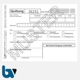 0/812-10 Quittung Empfangsbescheinigung Kasse Melde Bürgeramt Ausweis Pass Gewerbe Bar selbstdurchschreibend 2-fach Schreibschutzdeckel Nummerierung fortlaufend DIN A6 S 1 | Borgard Verlag GmbH