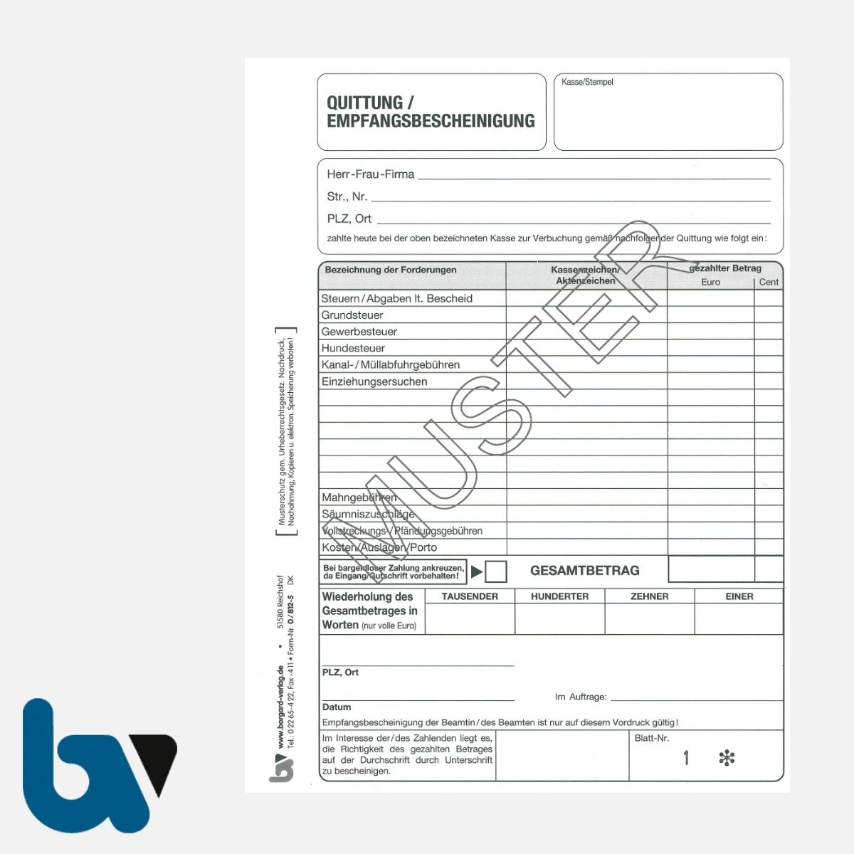 0/812-5 Quittung Empfangsbescheinigung Kasse Forderung Abgaben Steuern Gebühren Kosten selbstdurchschreibend 2-fach Schreibschutzdeckel Nummerierung 1-50 DIN A5 S 1 | Borgard Verlag GmbH