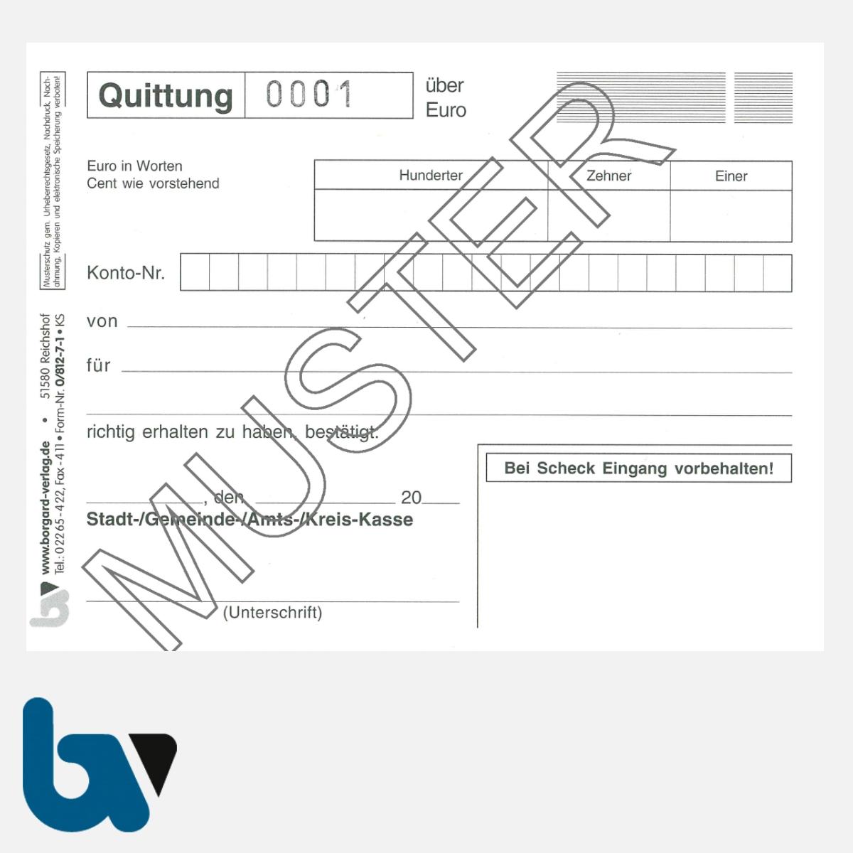 0/812-7.1 Quittung Empfangsbescheinigung Kasse Bar bargeldlos Zahlung Konto selbstdurchschreibend 2fach Schreibschutzdeckel Nummerierung 1 50 DIN A6 S 1 | Borgard Verlag GmbH