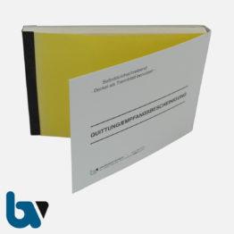 0/812-7.1 Quittung Empfangsbescheinigung Kasse Bar bargeldlos Zahlung Konto selbstdurchschreibend 2-fach Schreibschutzdeckel Nummerierung 1-50 DIN A6 Vorderseite | Borgard Verlag GmbH