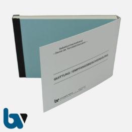 0/812-7 Quittung Empfangsbescheinigung Kasse Bar bargeldlos Zahlung Konto selbstdurchschreibend 2-fach Schreibschutzdeckel Nummerierung fortlaufend DIN A6 Vorderseite | Borgard Verlag GmbH