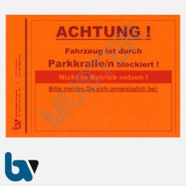 0/842-10.4 Aufkleber Achtung Fahrzeug blockiert Kfz Blockierung Vollstreckung Pfändung Parkkralle leucht-rot selbstklebend DIN A6 | Borgard Verlag GmbH
