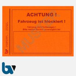 0/842-10 Aufkleber Achtung Fahrzeug blockiert Kfz Blockierung Vollstreckung Pfändung Parkkralle Ventilwächter leucht-rot selbstklebend DIN A6 | Borgard Verlag GmbH