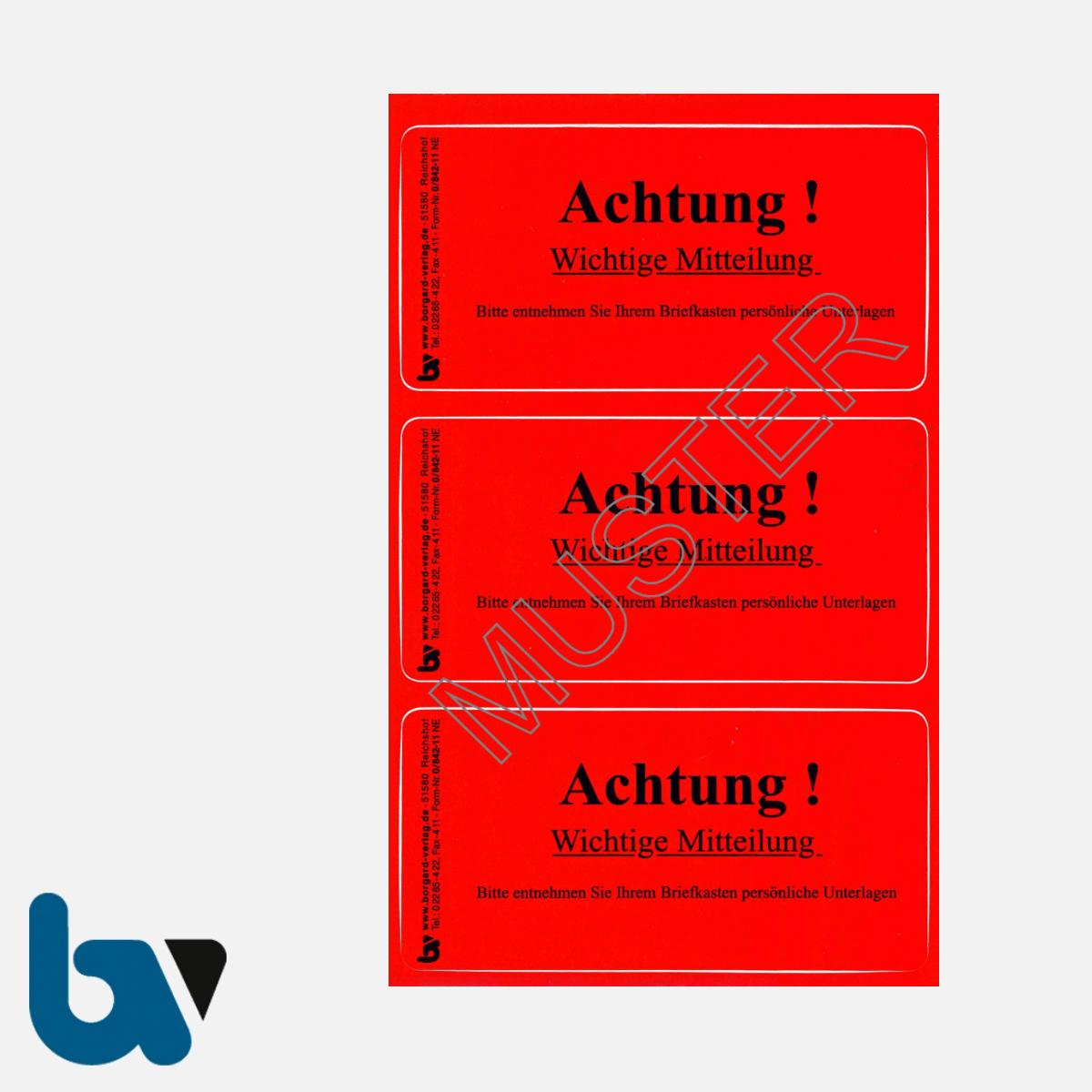0/842-11 Aufkleber Achtung wichtige Mitteilung Briefkasten Vollstreckung Pfändung Blockierung Kfz Parkkralle pneumatisch Wegfahrsperre Ventilwächter PVC rot | Borgard Verlag GmbH