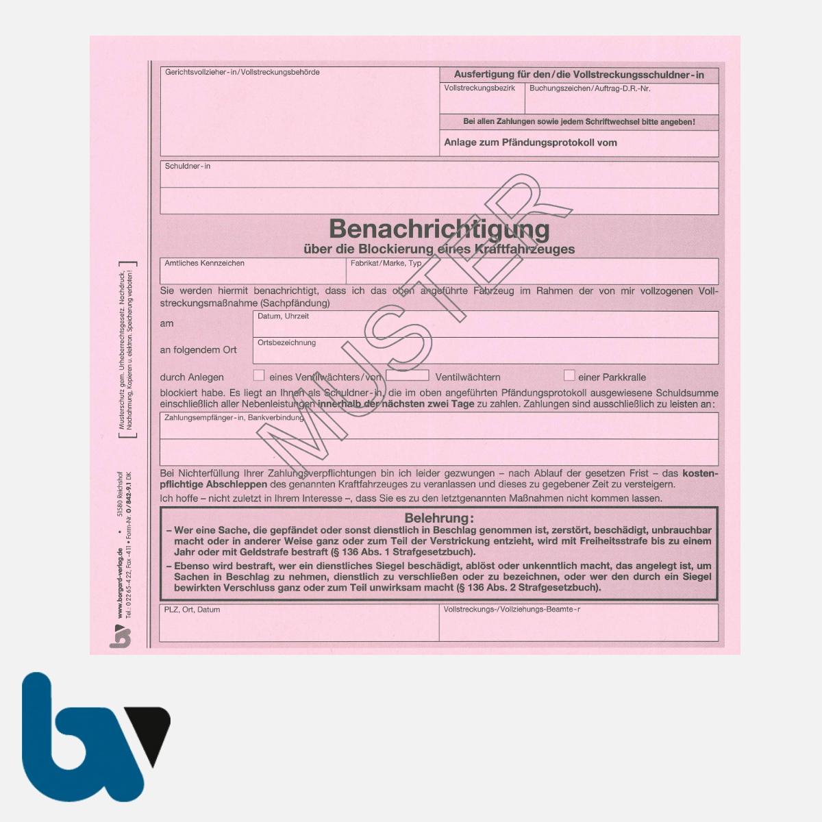 0/842-9.1 Benachrichtigung Blockierung Kraftfahrzeug Parkkralle Ventilwächter Kfz Vollstreckung Pfändung 2-fach selbstdurchschreibend DIN | Borgard Verlag GmbH