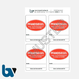 0/888-3 Aufkleber Pfandsiegel Paragraph 136 Strafgesetzbuch Siegelbruch Verstrickungsbruch Vollstreckung Beamte Pfändung selbstklebend rot | Borgard Verlag GmbH