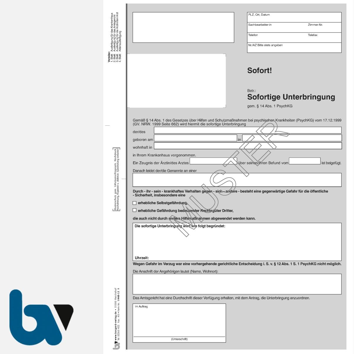 1/448-1.5 Sofortige Unterbringung Krankenhaus Paragraph 14 PsychKG NRW 4-fach selbstdurchschreibend DIN A4 Seite 1 | Borgard Verlag GmbH