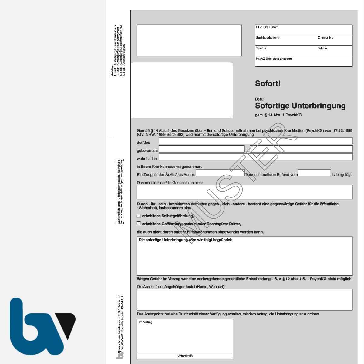 1/448-1.8 Sofortige Unterbringung Krankenhaus Paragraph 14 PsychKG NRW 4-fach selbstdurchschreibend DIN A4 Vorderseite | Borgard Verlag GmbH