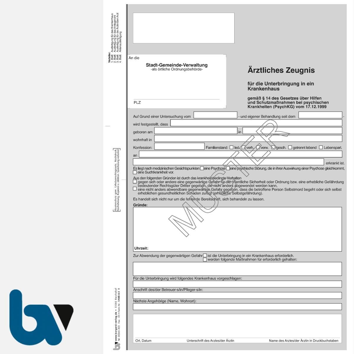 1/448-4.5 Ärztliches Zeugnis Unterbringung Krankenhaus Paragraph 14 PsychKG NRW 4-fach selbstdurchschreibend DIN A4 Vorderseite | Borgard Verlag GmbH