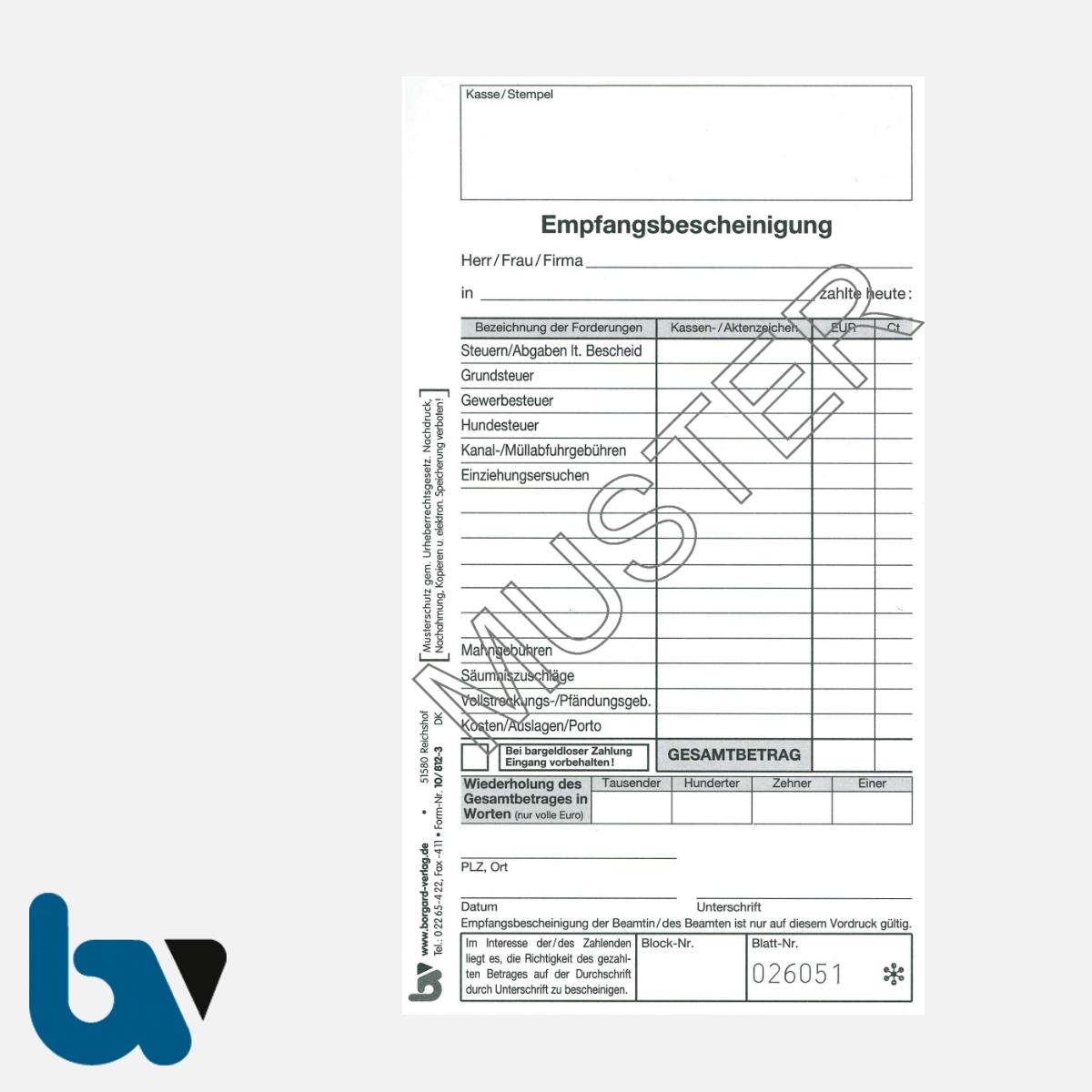 10/812-3 Quittung Empfangsbescheinigung Kasse Forderung selbstdurchschreibend 3-fach Schreibschutzdeckel Nummerierung fortlaufend DIN lang S 1 | Borgard Verlag GmbH