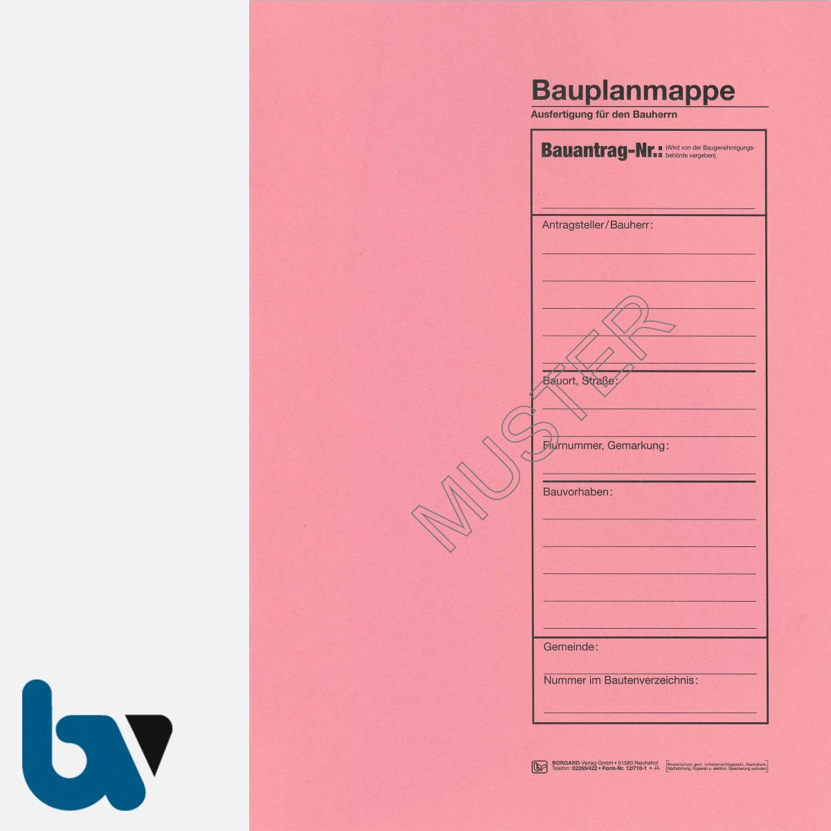 12/710-1 Bauplanmappe Ausfertigung Bauherr Karton rosa Einschlagdeckel Dokumentenschutz Verwahrung Archivierung DIN C4 Seite 1 | Borgard Verlag GmbH