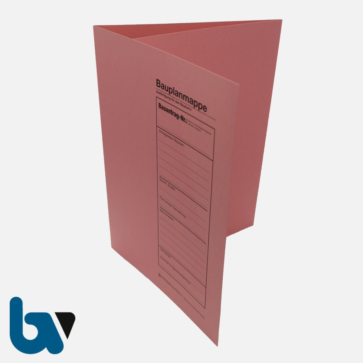 12/710-1 Bauplanmappe Ausfertigung Bauherr Karton rosa Einschlagdeckel Dokumentenschutz Verwahrung Archivierung DIN C4 Vorderseite | Borgard Verlag GmbH