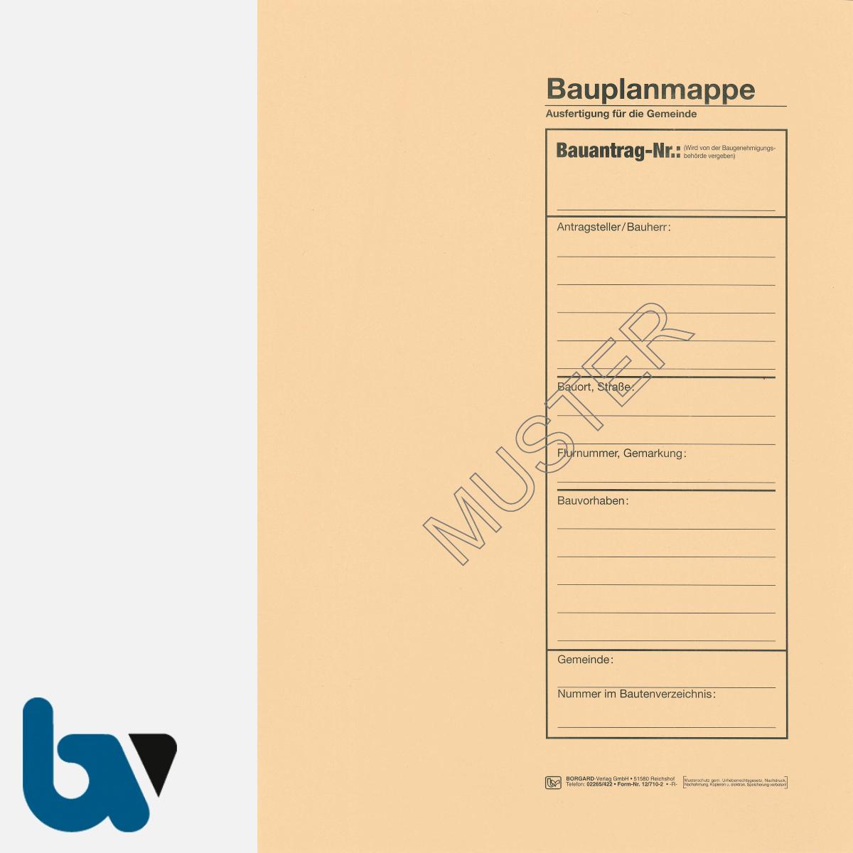 12/710-2 Bauplanmappe Ausfertigung Gemeinde Karton chamois Einschlagdeckel Dokumentenschutz Verwahrung Archivierung DIN C4 Seite 1 | Borgard Verlag GmbH