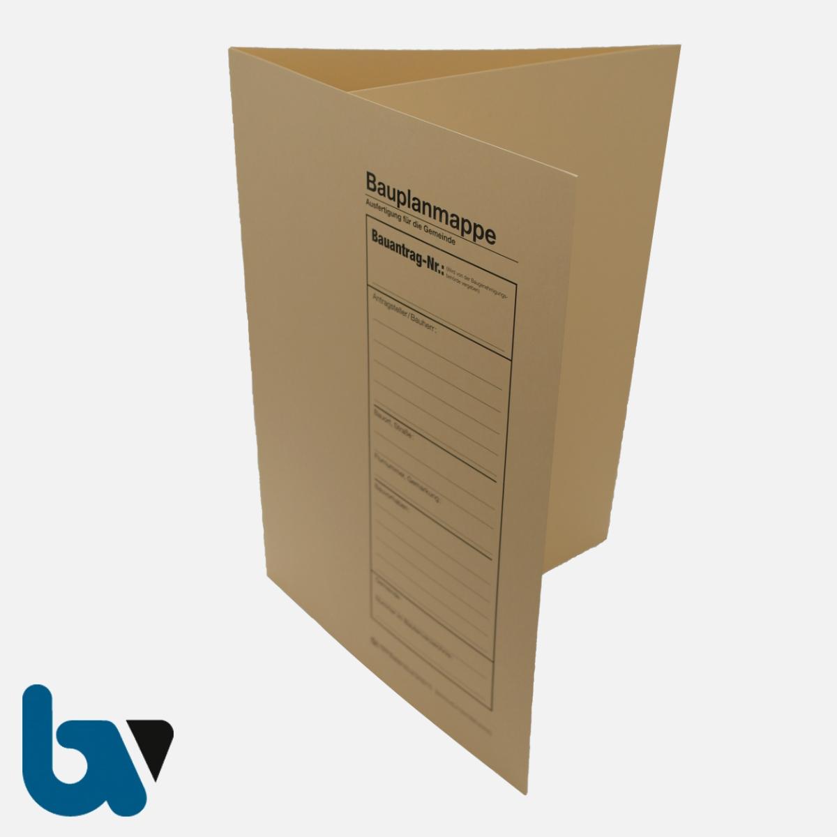 12/710-2 Bauplanmappe Ausfertigung Gemeinde Karton chamois Einschlagdeckel Dokumentenschutz Verwahrung Archivierung DIN C4 Vorderseite | Borgard Verlag GmbH