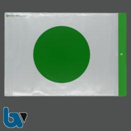 12/780-2 Schutzhülle Baustellenschild grüner Punkt aufgedruckt Bauordnung Kunststoff Wetterfest Loch Befestigung DIN A4 Vorderseite | Borgard Verlag GmbH