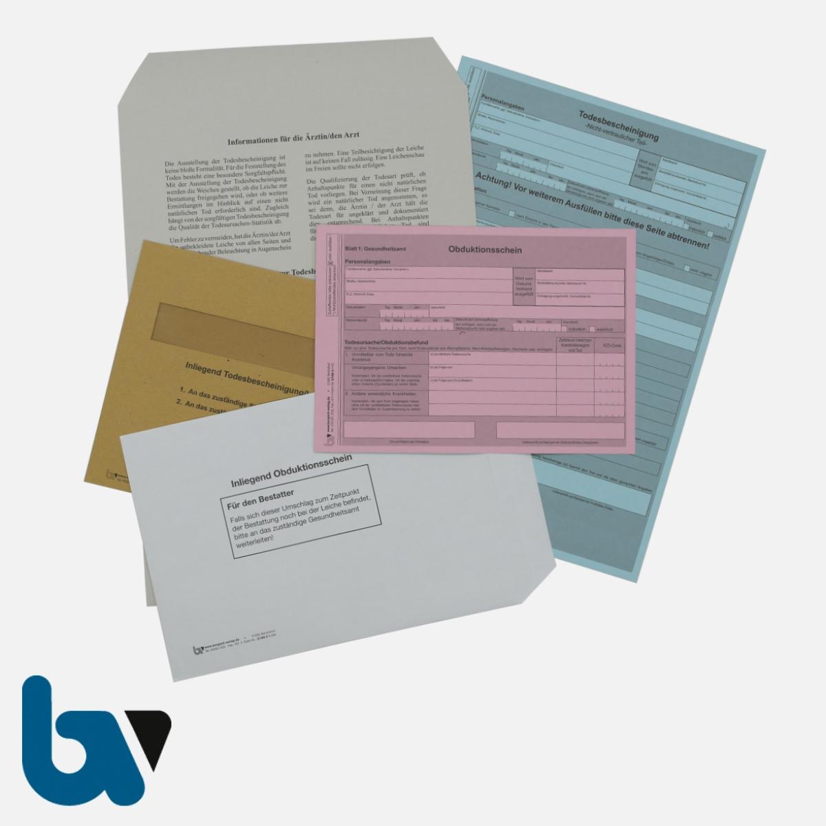 2/148-1 Komplettsatz Todesbescheinigung Rheinland Pfalz Vordrucke Umschläge | Borgard Verlag GmbH