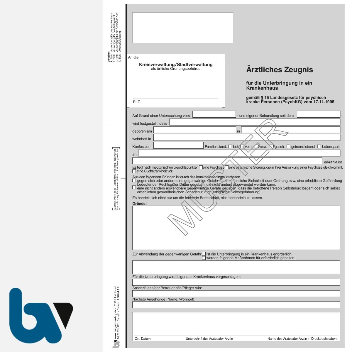 2/448-4.5 Ärztliches Zeugnis Unterbringung Krankenhaus Paragraph 15 PsychKG RLP 4-fach selbstdurchschreibend DIN A4 Vorderseite | Borgard Verlag GmbH