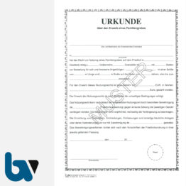 3/168-5 Urkunde Erwerb Familiengrab Grabstätte Friedhof Verwaltung 2-fach DIN A4 Vorderseite | Borgard Verlag GmbH