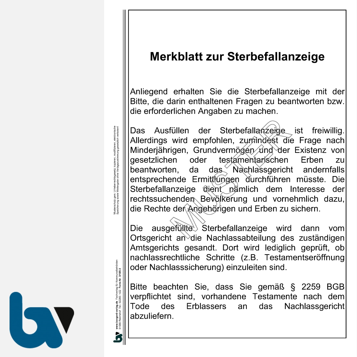 3/185-3 Merkblatt Sterbefallanzeige Ortsgericht Hessen DIN A4 | Borgard Verlag GmbH