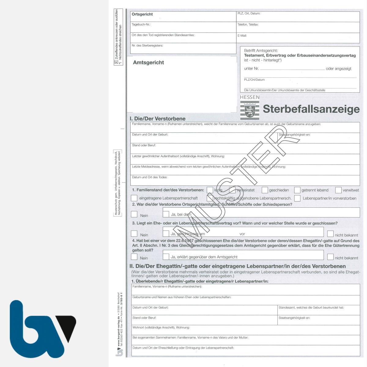 3/185-8 Sterbefallsanzeige Sterbefallanzeige Ortsgericht Hessen Muster amtlich mit Durchschrift Kopie DIN A4 Seite 1 | Borgard Verlag GmbH