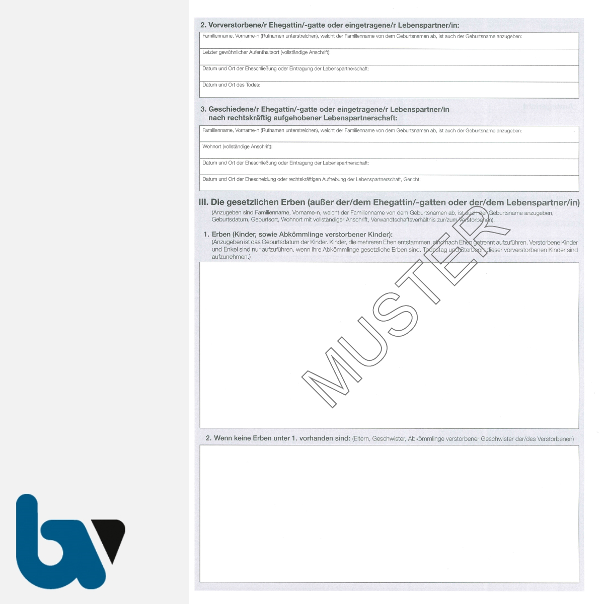 3/185-8a Sterbefallsanzeige Sterbefallanzeige Ortsgericht Hessen Muster amtlich Solo DIN A4 Seite 2 | Borgard Verlag GmbH