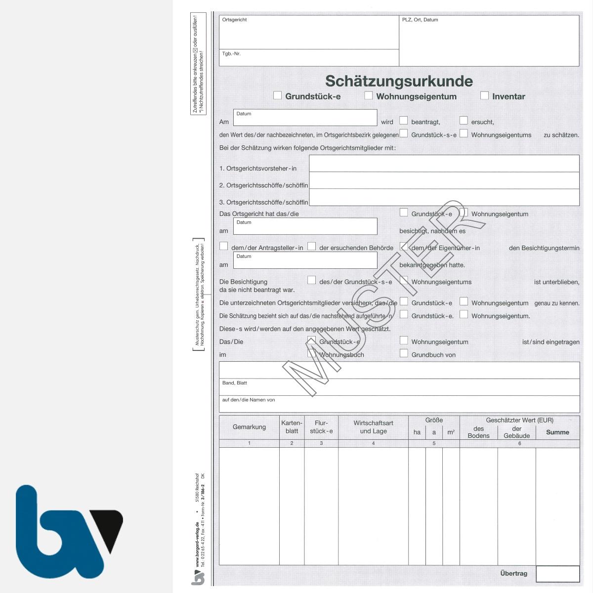 3/186-2a Schätzungsurkunde Grundstück Wohnungseigentum Inventar Ortsgericht Hessen Solo DIN A4 Seite 1 | Borgard Verlag GmbH