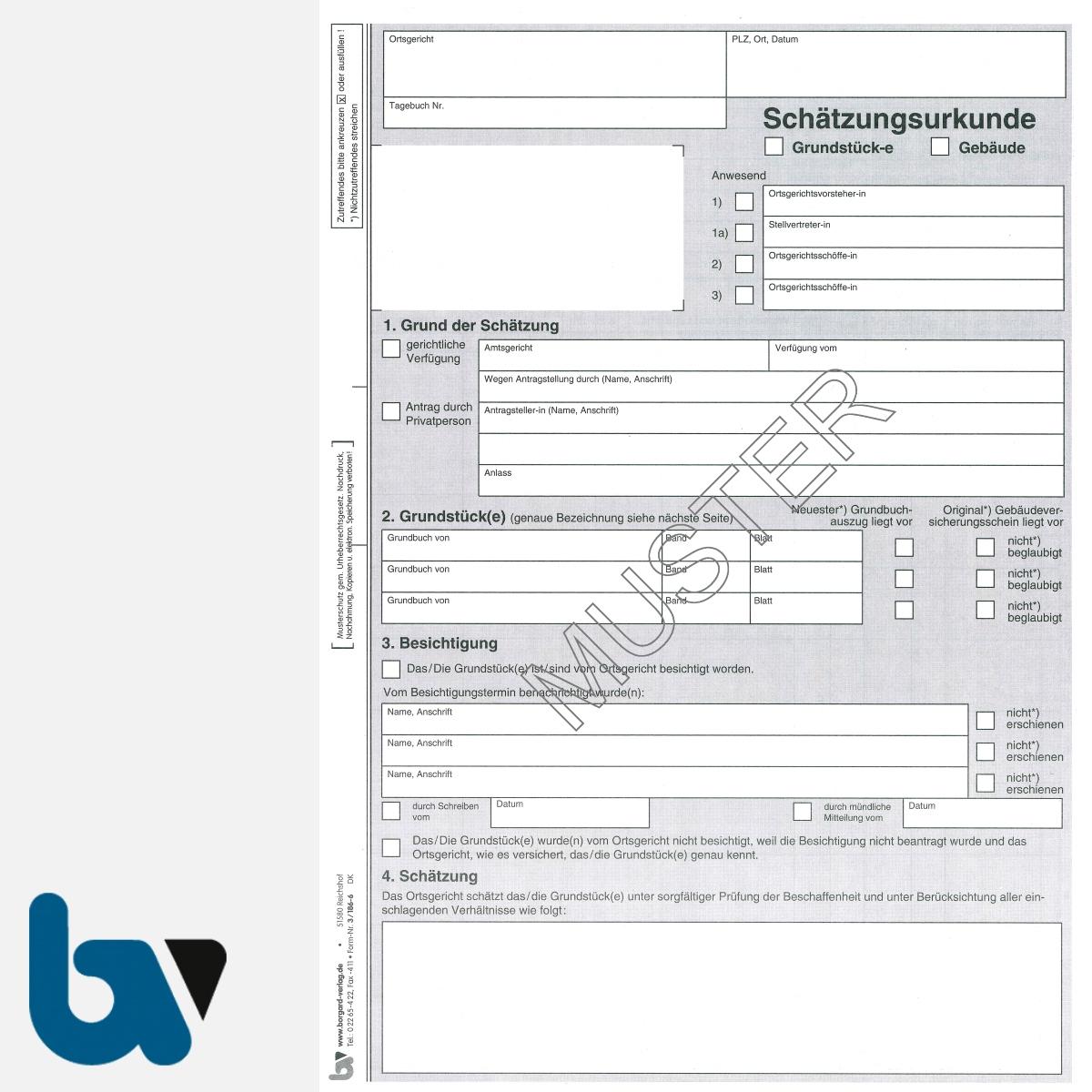 3/186-6 Schätzungsurkunde Ortsgericht Hessen Grundstück Gebäude mit Durchschrift Kopie DIN A4 Seite 1 | Borgard Verlag GmbH