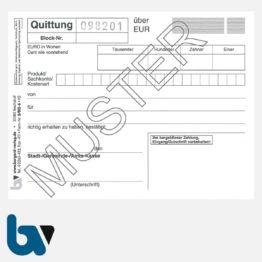 3/812-6 Quittung Empfangsbescheinigung Kasse Bar bargeldlos Zahlung Produkt Sachkonto selbstdurchschreibend 3-fach Schreibschutzdeckel Nummerierung fortlaufend DIN A6 S 1 | Borgard Verlag GmbH