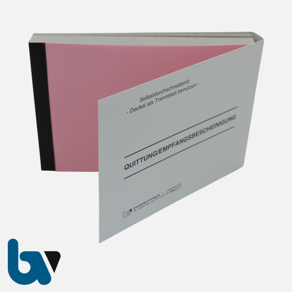 3/812-6 Quittung Empfangsbescheinigung Kasse Bar bargeldlos Zahlung Produkt Sachkonto selbstdurchschreibend 3-fach Schreibschutzdeckel Nummerierung fortlaufend DIN A6 Vorderseite | Borgard Verlag GmbH