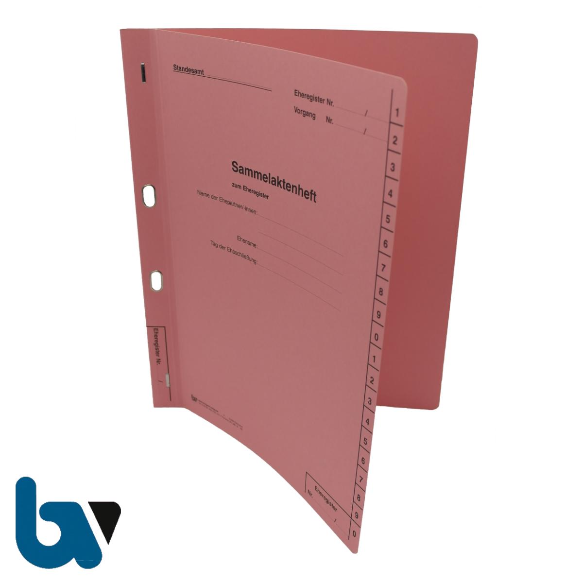 0/145-3 Sammelaktenheft Eheregister Ehepartner Eheschliessung Ovalöse beidseitig rosa Karton Außen | Borgard Verlag GmbH