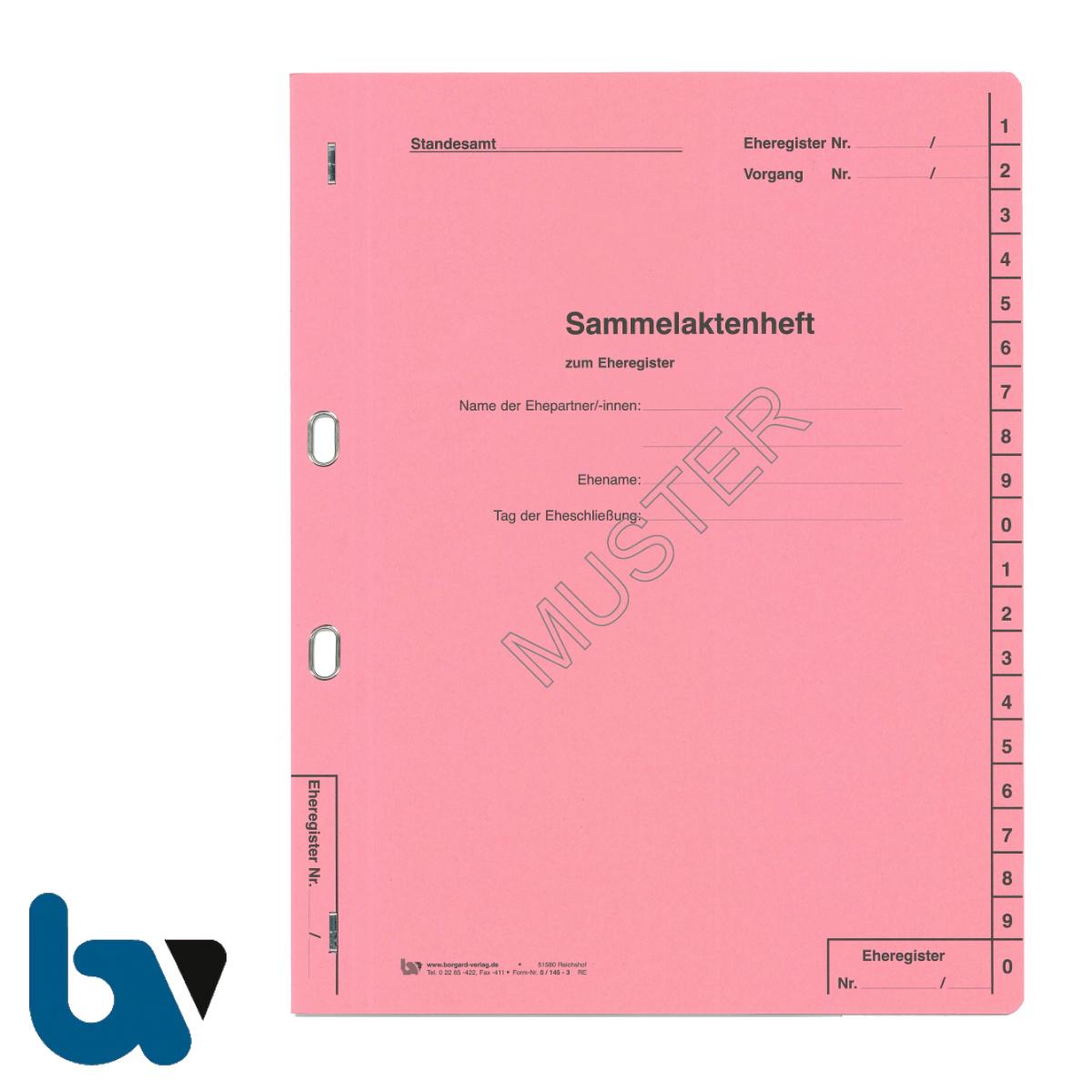 0/145-3 Sammelaktenheft Eheregister Ehepartner Eheschliessung Ovalöse beidseitig rosa Karton Vorderseite | Borgard Verlag GmbH
