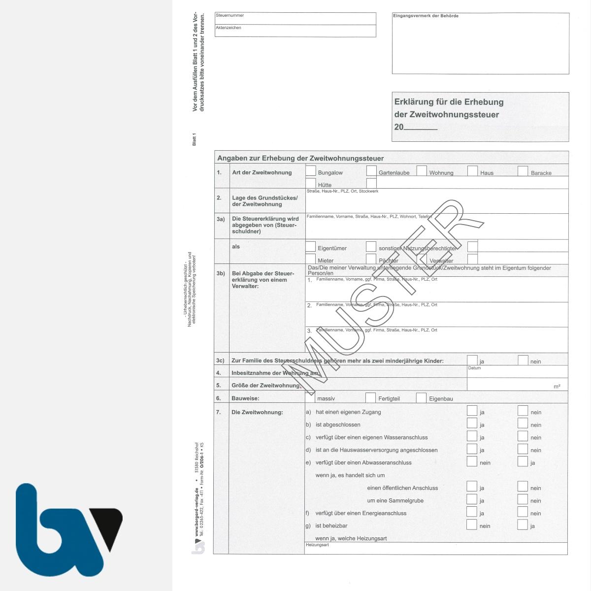 0/206-1 Erklärung Erhebung Zweitwohnungssteuer 2-fach selbstdurchschreibend DIN A4 Seite 1 | Borgard Verlag GmbH
