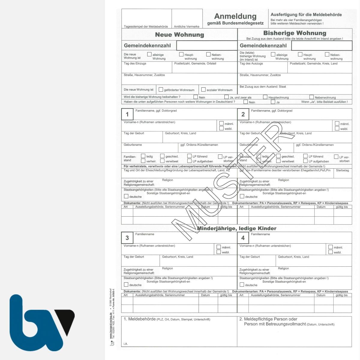 0/505-1 Anmeldung Meldeschein Bestätigung Meldebehörde Bundesmeldegesetz Hinweispflichten 2-fach selbstdurchschreibend DIN A4 Seite 1 | Borgard Verlag GmbH