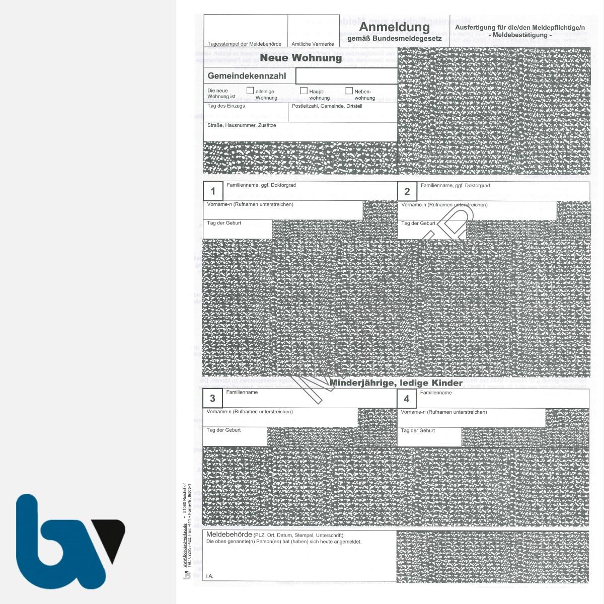 0/505-1 Anmeldung Meldeschein Bestätigung Meldebehörde Bundesmeldegesetz Hinweispflichten 2-fach selbstdurchschreibend DIN A4 Seite 2 | Borgard Verlag GmbH
