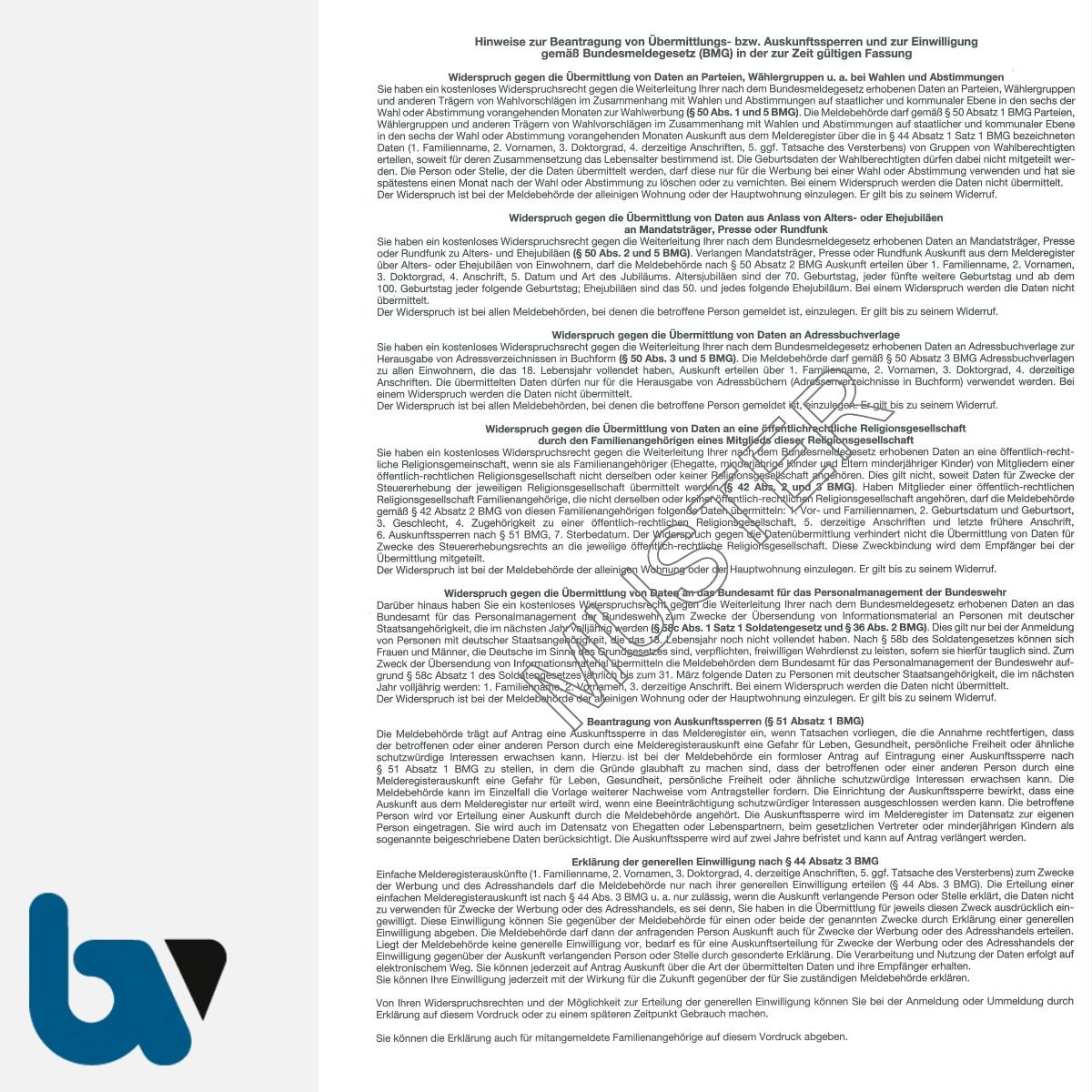0/505-3 Widerspruch Einwilligung Bundesmeldegesetz Übermittlungssperre Auskunftssperre Hinweise 3-fach selbstdurchschreibend DIN A4 Seite 1 | Borgard Verlag GmbH